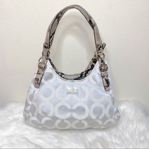 Coach Madison Op Art Hobo Purse Silver